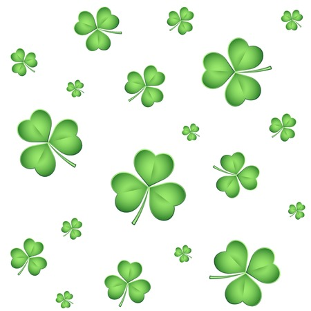 Seamless pattern with lucky clovers. Happy St. Patrick Vector