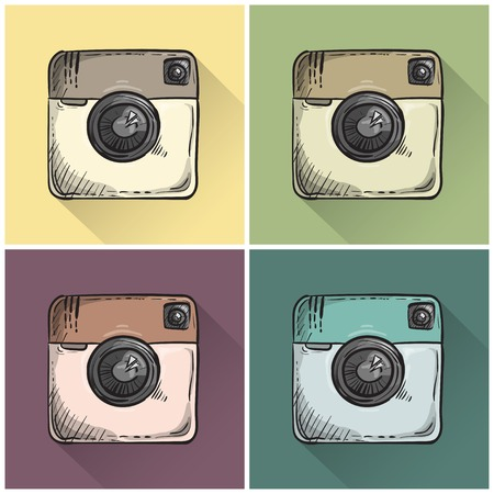 Set of hand drawn retro photo icons. Vector Vector