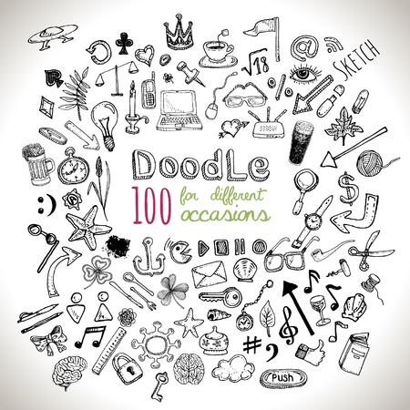 chalk drawing: Doodle 100 Icons. Universal set isolated. Vector