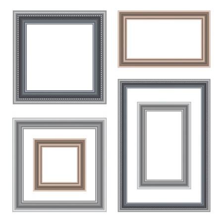 moulding: Set of vintage frame isolated on white background. Vector illustration
