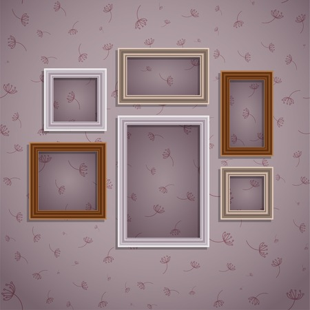 art gallery: Set of frame on vintage wall. Art gallery. Background - seamless pattern. Vector illustration