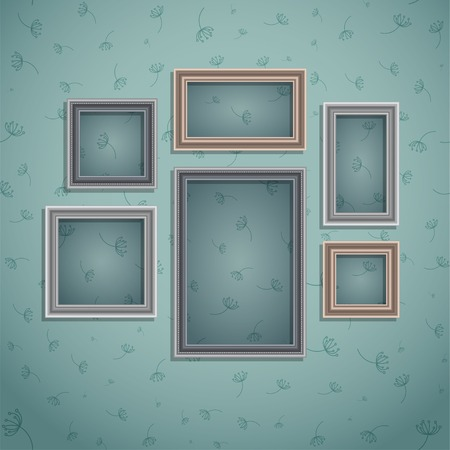 moulding: Set of frame on vintage wall. Art gallery. Background - seamless pattern. Vector illustration