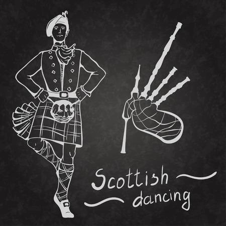 gaita: Bosquejo del bailar�n escoc�s y gaitas a bordo recubierto