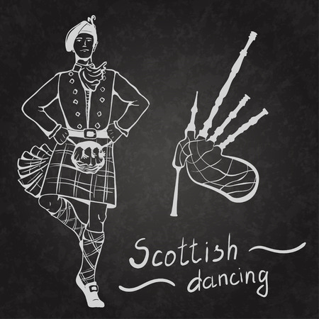 bagpipes: Sketch of Scottish dancer and Bagpipes on coated board