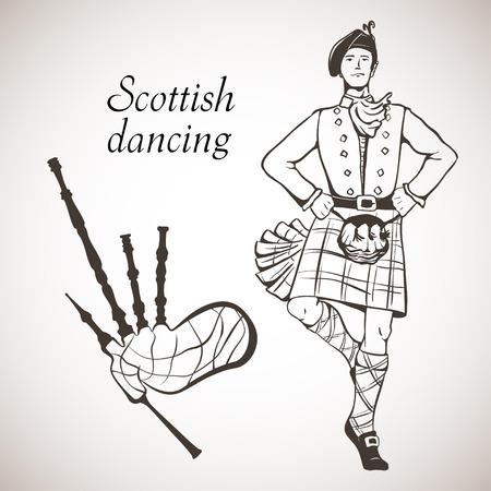 gaita: Bosquejo del bailar�n escoc�s y gaitas en la tarjeta blanca