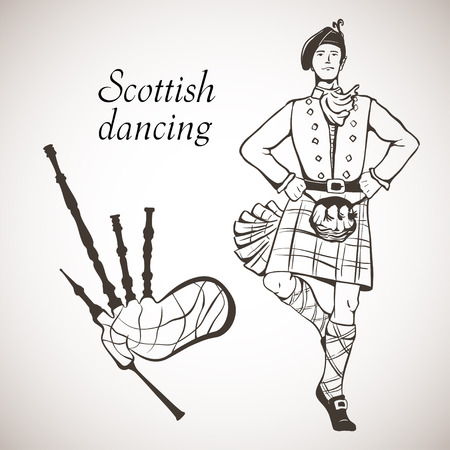 bagpipes: Sketch of Scottish dancer and Bagpipes on white board Illustration