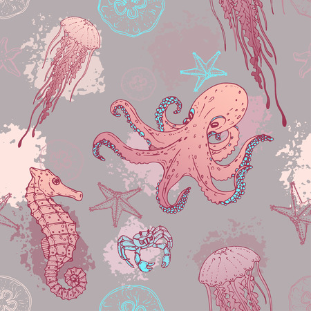sea creatures: Seamles marine pattern sea creatures. Background with marine life. Vector