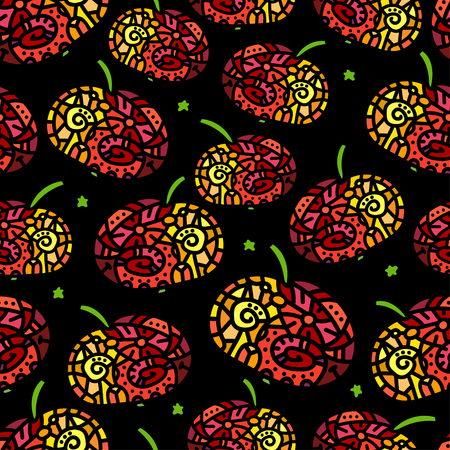 etnic: Etnic seamless pattern with stylized apple. Vector illustration Illustration