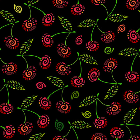 etnic: Etnic seamless pattern with stylized colored cherry. Vector illustration