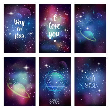 heaven background: Cosmic greeting card. Flyer design template with sacred geometry, stars and planet. Vector eps 10