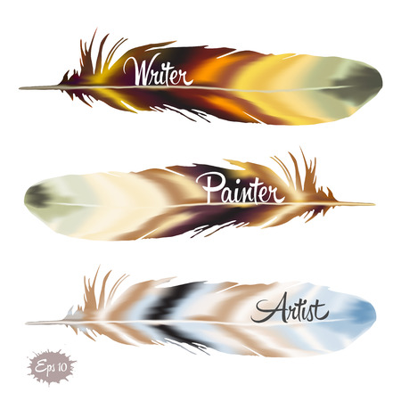 writer: Set of color feather in boho style and typography writer, artist, painter. Vector illustration Illustration