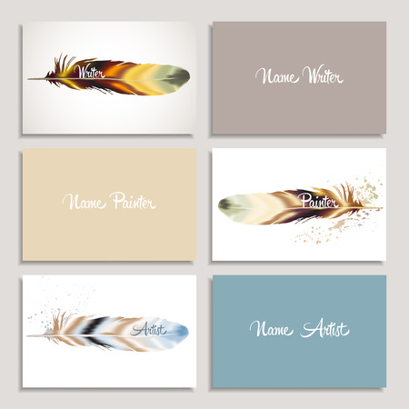 writer: Set business card writer, artist, painter with color feather in boho style. Vector template Illustration