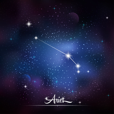 zodiacal: Zodiacal constellation Aries. Galaxy background with sparkling stars. Vector illustration Illustration