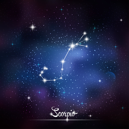 asterism: Zodiacal constellation Scorpio. Galaxy background with sparkling stars. Vector illustration