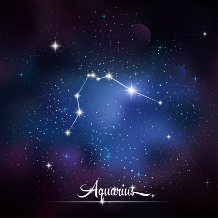 zodiacal: Zodiacal constellation Aquarius. Galaxy background with sparkling stars. Vector illustration