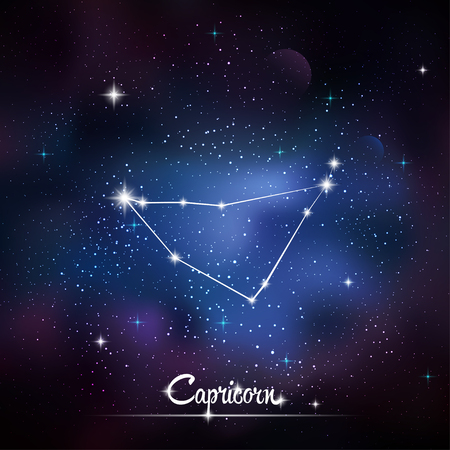 asterism: Zodiacal constellation Capricorn. Galaxy background with sparkling stars. Vector illustration