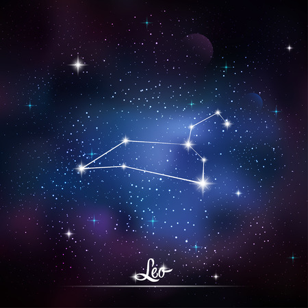asterism: Zodiacal constellation Leo. Galaxy background with sparkling stars. Vector illustration