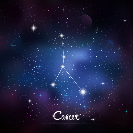zodiacal: Zodiacal constellation Cancer. Galaxy background with sparkling stars. Vector illustration