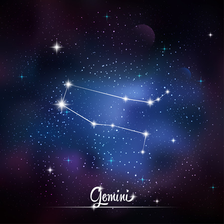 asterism: Zodiacal constellation Gemini. Galaxy background with sparkling stars. Vector illustration