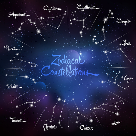 zodiacal: Zodiacal constellations Cancer, Pisces, Aquarius, Capricorn, Sagittarius, Scorpio, Libra, Virgo, Leo, Gemini, Taurus, Aries. Galaxy background with sparkling stars. Vector illustration Illustration