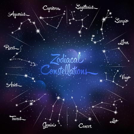 cosmo: Zodiacal constellations Cancer, Pisces, Aquarius, Capricorn, Sagittarius, Scorpio, Libra, Virgo, Leo, Gemini, Taurus, Aries. Galaxy background with sparkling stars. Vector illustration Illustration