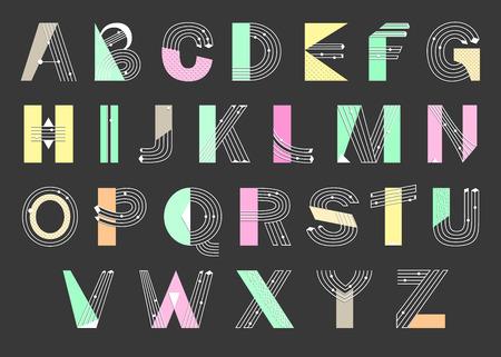 memphis: Creative geometric Alphabet. Postmodernist design typeface in Memphis style. Vector