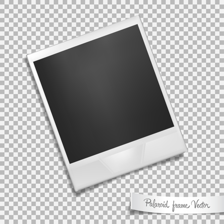 feature film: photo frame on transparent background. Isolated photo template with shadow effect. Vector illustration Illustration