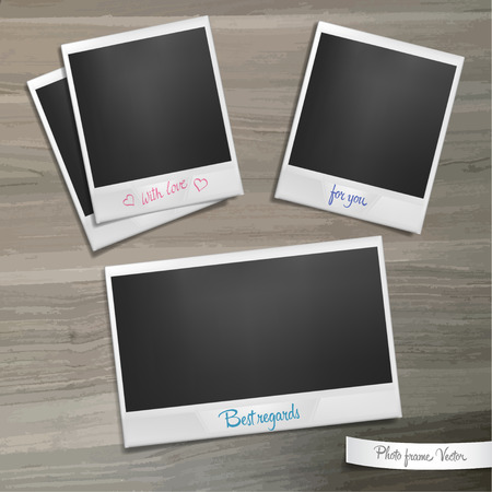 lies: Set of photo frames with caption lies on a wooden table. Template with shadow effect. Vector illustration