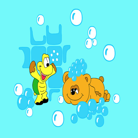 merrily: the bear and the tortoise-soap bubbles
