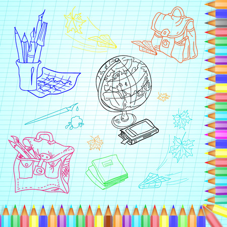 colored pencils: Frame of colored pencils on the background of school supplies.