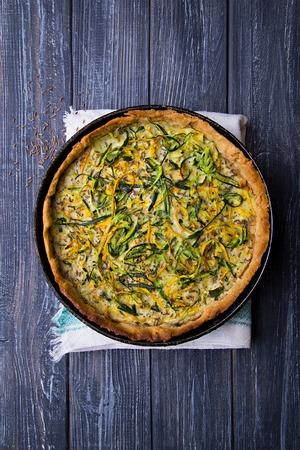 vegeterian: Tasty homemade vegeterian zucchini pie with cumin