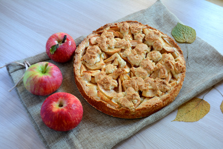 Homemade Apple pie. Autumn food and dessert with apples Archivio Fotografico