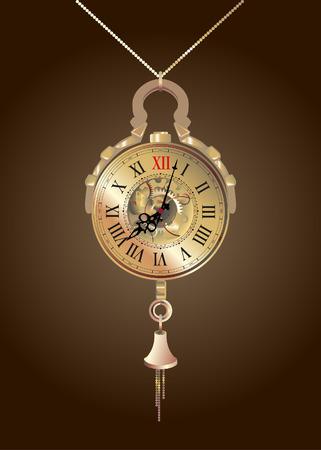 Ilustración vectorial de un reloj de bolsillo Foto de archivo - 50574202