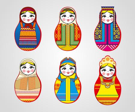 matreshka: Matryoshka dolls in different outfits. Vector illustration  Illustration