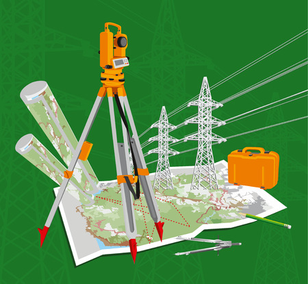 geodesy: Surveying instruments - theodolite with maps and compasses, pencil, power lines. Beautiful composition on a green background.