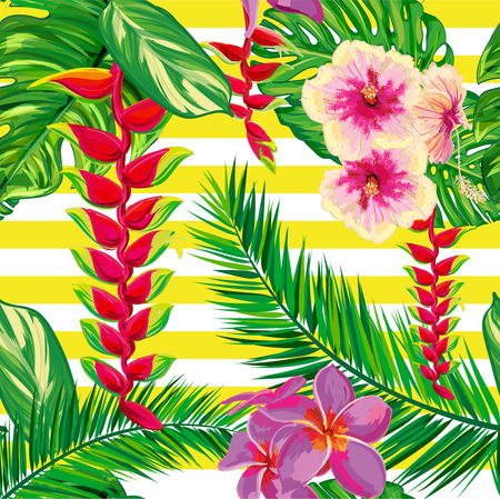 topical: Tropical flowers, palm leaves, strips. Beautiful seamless vector floral jungle pattern background, exotic print. Abstract geometric texture. Illustration