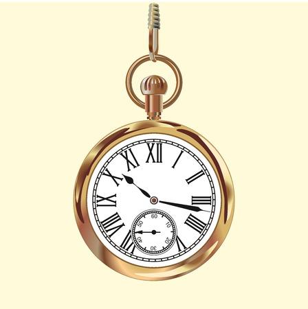 Goldener Jahrgang Taschenuhr. Vektor-Illustration auf weißem Hintergrund. Standard-Bild - 52154064