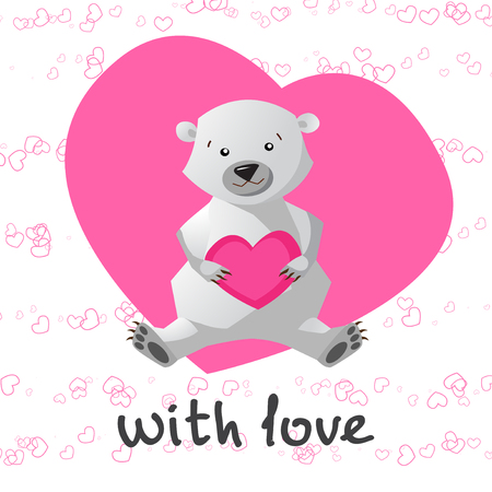printable: Love printable with cute bear holding heart. With my love printable with cute bear. Vector illustration. Illustration