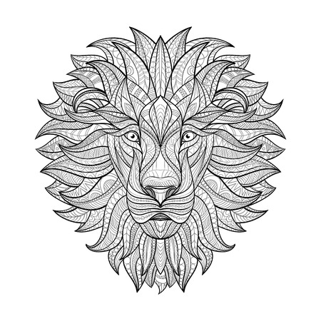 totem: Detailed Lion in aztec style. Patterned head of the lion on isolated background. African indian totem tattoo design. Vector illustration.