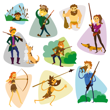 hunters: Funny cartoon hunters set. Hunter cartoon set. Different characters hunters with weapons and animals vector illustration. Eps 10