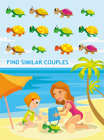 pairs: Beautiful cartoon vector illustration. Funny match-up game for preschool kids education. Find six pairs of cute cartoon turtle. Kids game design ready template.