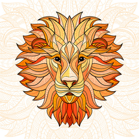 Detailed colored Lion in aztec style. Patterned head of the lion on isolated background. African indian totem tattoo design. Vector illustration.