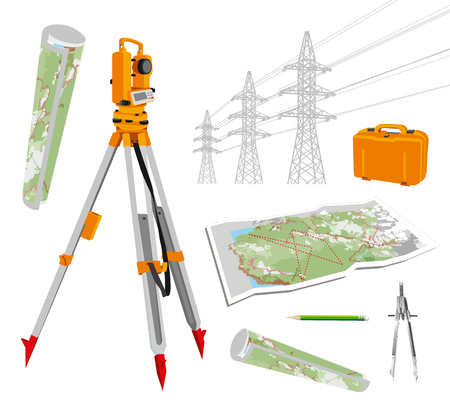 geodesy: Surveying instruments - theodolite with maps and compasses, pencil, power lines. Isolated vector set illustrations on white background. Vector illustration.