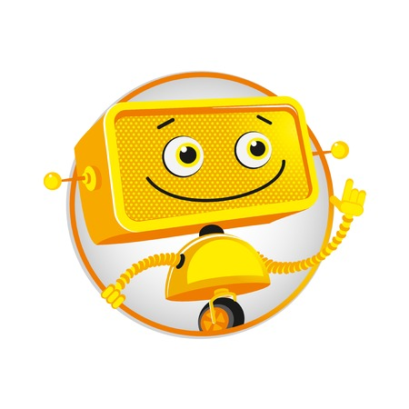 funny robot: Funny yellow robot. Good cheerful yellow robot on white background. Vector illustration.