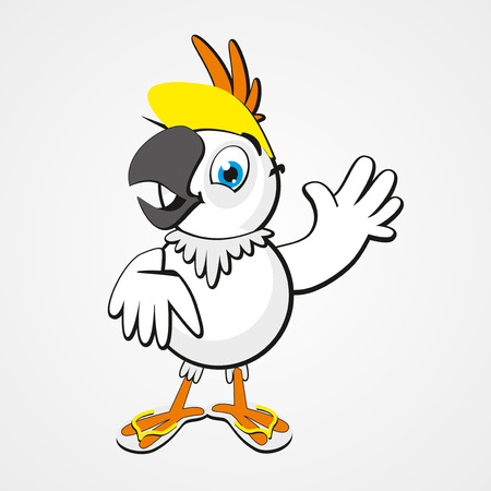 hilarious: White funny cartoon hilarious parrot isolated on white background. Vector illustration.