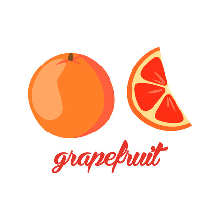 grapefruit: Grapefruit fruits poster in cartoon style depicting whole and half of fresh juicy citruses isolated on white background including caption Grapefruit. Vector illustration.