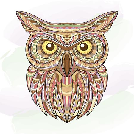 detailed: Detailed hand drawn doodle outline owl illustration.