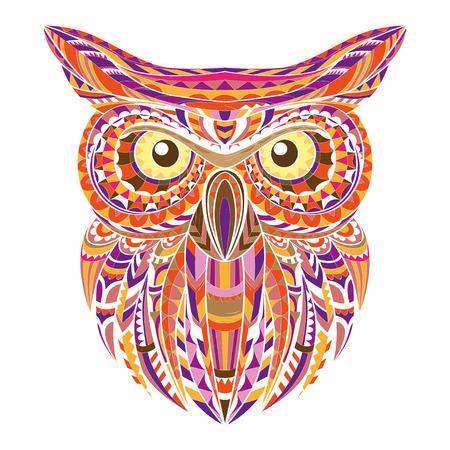 owl illustration: Detailed hand drawn doodle outline owl illustration.