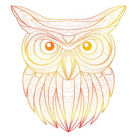 Mano Doodle Ilustración Del Esquema De Tigre. Decorativo En Tótem ...