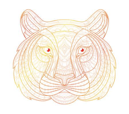 tiger page: Hand drawn doodle outline tiger illustration. Decorative in African indian totem Ethnic tribal aztec design. Sketch for adult antistress coloring page.